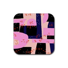 Vibrant Tropical Dot Patterns Rubber Coaster (square)