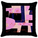 Vibrant Tropical Dot Patterns Throw Pillow Case (Black) Front