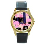 Vibrant Tropical Dot Patterns Round Gold Metal Watch Front