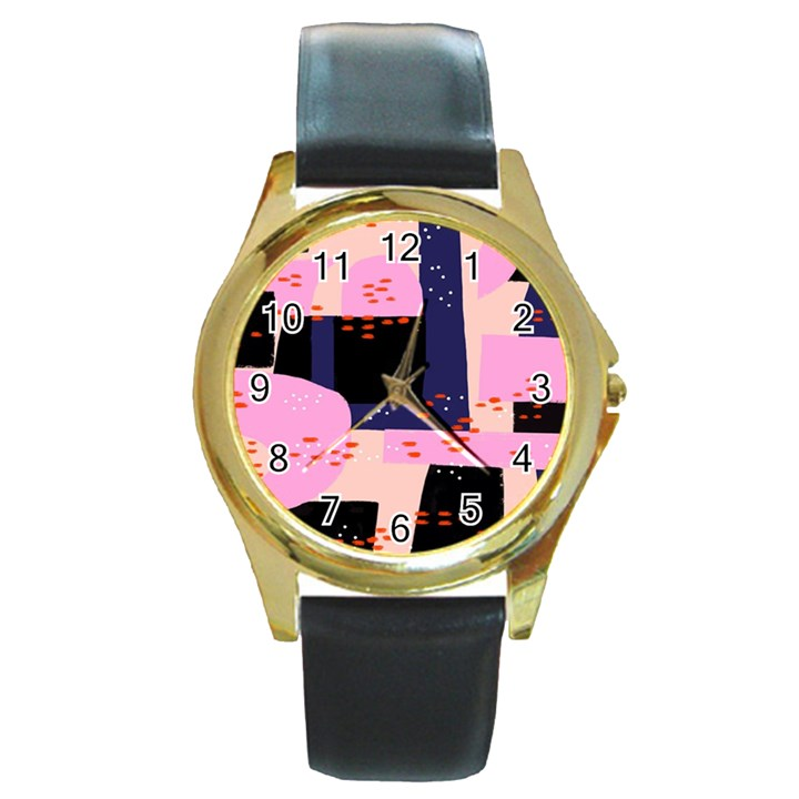 Vibrant Tropical Dot Patterns Round Gold Metal Watch