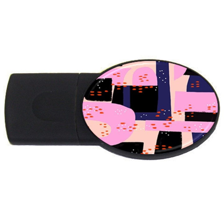 Vibrant Tropical Dot Patterns USB Flash Drive Oval (2 GB)