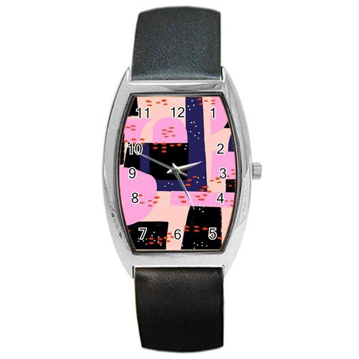 Vibrant Tropical Dot Patterns Barrel Style Metal Watch