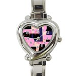 Vibrant Tropical Dot Patterns Heart Italian Charm Watch Front