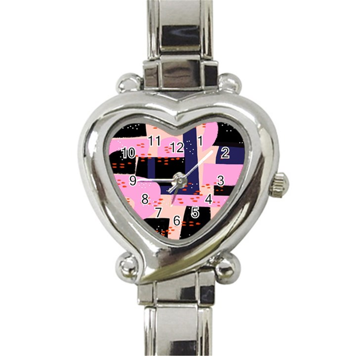Vibrant Tropical Dot Patterns Heart Italian Charm Watch