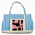 Vibrant Tropical Dot Patterns Striped Blue Tote Bag Front
