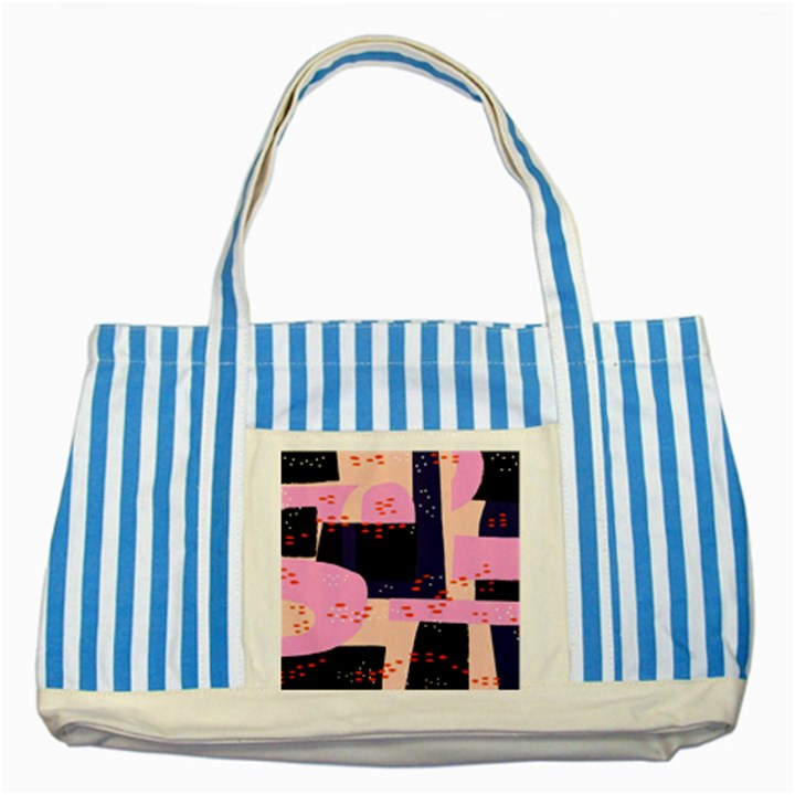 Vibrant Tropical Dot Patterns Striped Blue Tote Bag