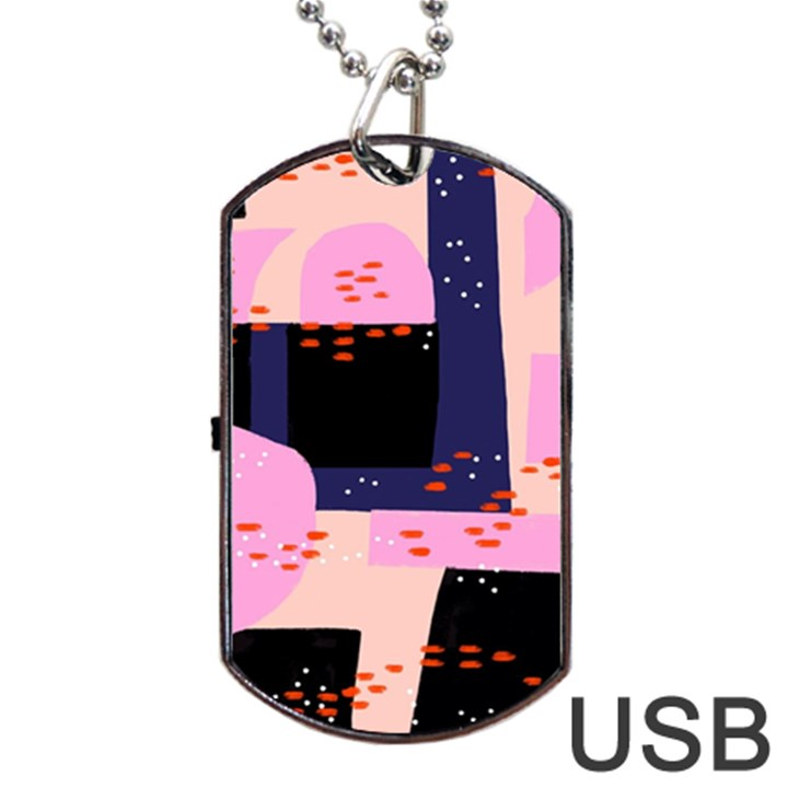 Vibrant Tropical Dot Patterns Dog Tag USB Flash (One Side)