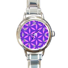 Pattern Texture Backgrounds Purple Round Italian Charm Watch by HermanTelo