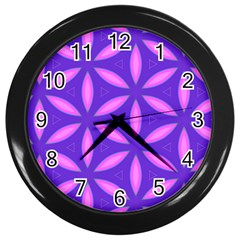 Pattern Texture Backgrounds Purple Wall Clock (Black)