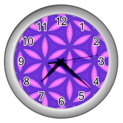 Pattern Texture Backgrounds Purple Wall Clock (Silver)