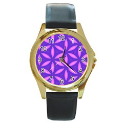 Pattern Texture Backgrounds Purple Round Gold Metal Watch by HermanTelo