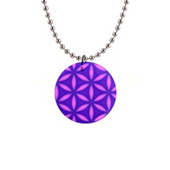 Pattern Texture Backgrounds Purple 1  Button Necklace by HermanTelo