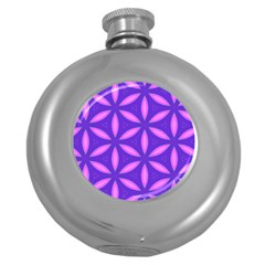 Pattern Texture Backgrounds Purple Round Hip Flask (5 oz)