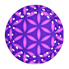 Pattern Texture Backgrounds Purple Round Filigree Ornament (Two Sides)
