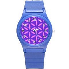 Pattern Texture Backgrounds Purple Round Plastic Sport Watch (s) by HermanTelo