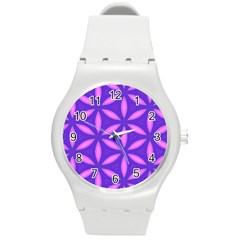 Pattern Texture Backgrounds Purple Round Plastic Sport Watch (m) by HermanTelo
