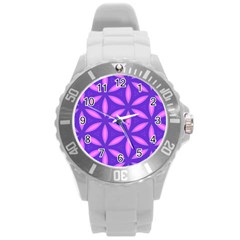 Pattern Texture Backgrounds Purple Round Plastic Sport Watch (l) by HermanTelo