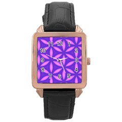Pattern Texture Backgrounds Purple Rose Gold Leather Watch  by HermanTelo