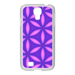 Pattern Texture Backgrounds Purple Samsung GALAXY S4 I9500/ I9505 Case (White)