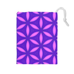 Pattern Texture Backgrounds Purple Drawstring Pouch (Large)