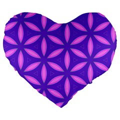 Pattern Texture Backgrounds Purple Large 19  Premium Flano Heart Shape Cushions
