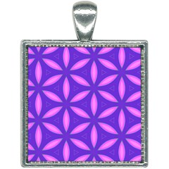Pattern Texture Backgrounds Purple Square Necklace by HermanTelo
