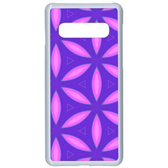 Pattern Texture Backgrounds Purple Samsung Galaxy S10 Seamless Case(White)