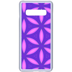 Pattern Texture Backgrounds Purple Samsung Galaxy S10 Plus Seamless Case(White)