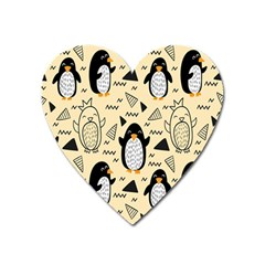 Hand Drawn Penguin Doodle Pattern Heart Magnet by Vaneshart