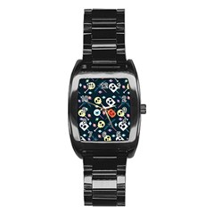 Halloween Candy Pattern Vector Stainless Steel Barrel Watch