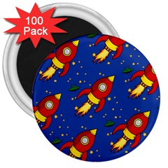 Space Rocket Pattern 3  Magnets (100 Pack)