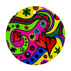 Seamless Doodle Round Ornament (two Sides)