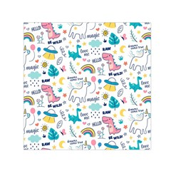 Colorful Doodle Animals Words Pattern Small Satin Scarf (square)