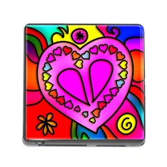 Stained Glass Love Heart Memory Card Reader (square 5 Slot)