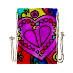 Stained Glass Love Heart Drawstring Bag (small)