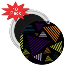 Abstract Pattern Design Various Striped Triangles Decoration 2 25  Magnets (10 Pack)