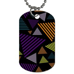 Abstract Pattern Design Various Striped Triangles Decoration Dog Tag (one Side) by Vaneshart