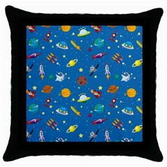 Space Rocket Solar System Pattern Throw Pillow Case (black) by Vaneshart