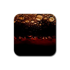 Water Drops Bubbles Macro Close Up Brown Rubber Coaster (square)