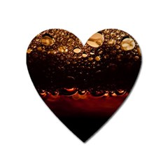 Water Drops Bubbles Macro Close Up Brown Heart Magnet by Vaneshart
