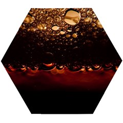Water Drops Bubbles Macro Close Up Brown Wooden Puzzle Hexagon