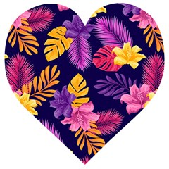 Tropical Pattern Wooden Puzzle Heart