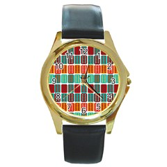 Bricks Abstract Seamless Pattern Round Gold Metal Watch by Vaneshart