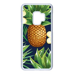 Tropical Pattern Pineapple Flowers Floral Fon Tropik Ananas Samsung Galaxy S9 Seamless Case(white)