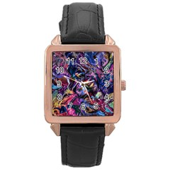 Multicolored Abstract Painting Rose Gold Leather Watch