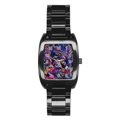 Multicolored Abstract Painting Stainless Steel Barrel Watch