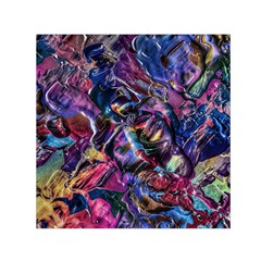 Multicolored Abstract Painting Small Satin Scarf (square)