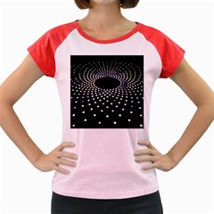 Abstract Black Blue Bright Circle Women s Cap Sleeve T-shirt by HermanTelo