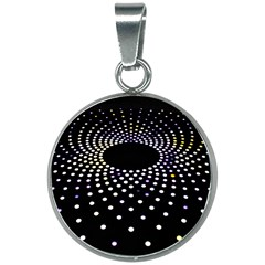 Abstract Black Blue Bright Circle 20mm Round Necklace by HermanTelo
