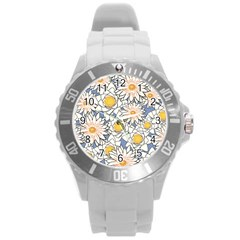 Flowers Pattern Lotus Lily Round Plastic Sport Watch (l)